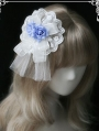 White and Blue Flower Lace Sweet Lolita Headdress