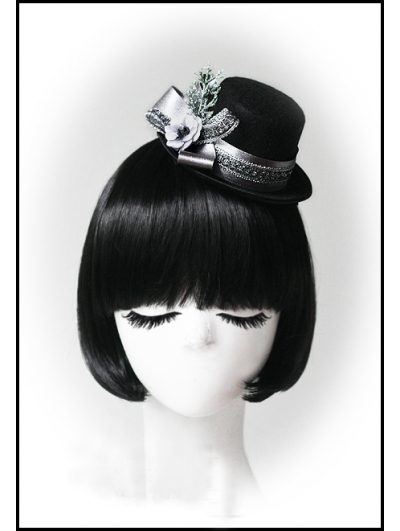 Black Christmas Snow Silver Ribbon Hat Headdress