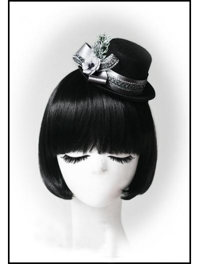 Black Christmas Snow Silver Ribbon Hat Headdress