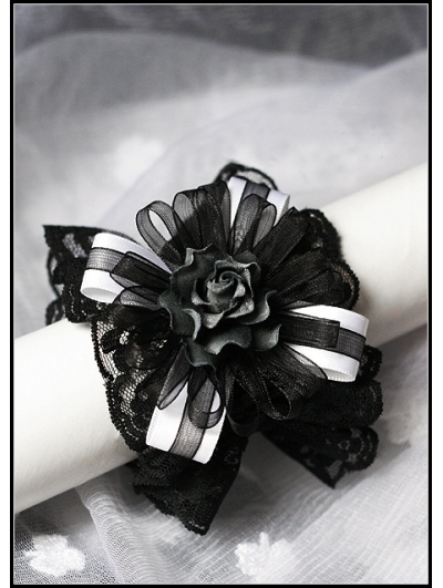 Black and White Lace Rose Gothic Lolita Bracelet