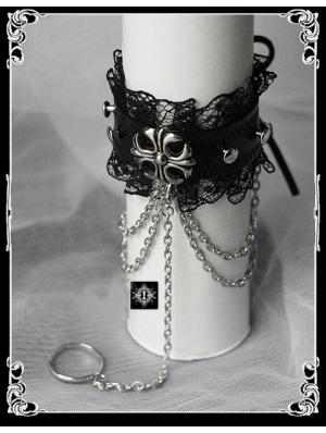 Leather Black Cross Rivet Bracelet Ring