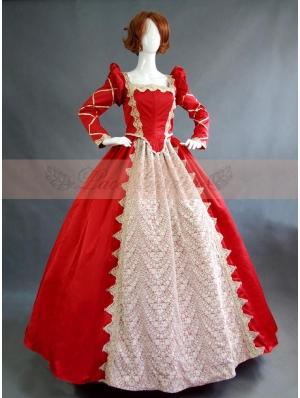 Red Vintage Long Sleeves Victorian Dress