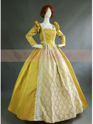 Yellow Vintage Long Sleeves Victorian Dress