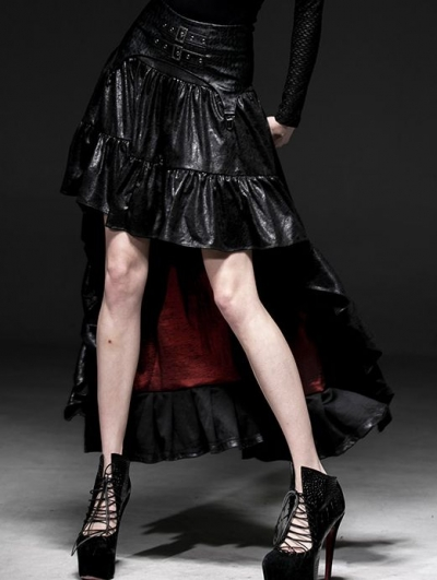 Black Gothic Punk High-Low Skirt