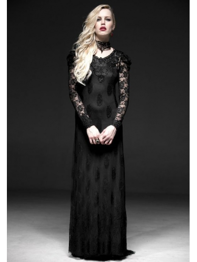 Romantic Black Long Sleeves Lace Gothic Two-Piece Dress