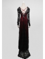 Romantic Red and Black Long Sleeves Lace Gothic Two-Piece Dress