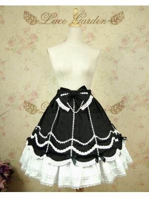 White and Black Sweet Lolita Skirt