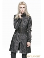 Gray Leather Gothic Punk Long Coat for Women