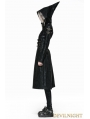 Black Leather Witch Style Gothic Coat for Women