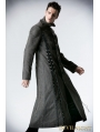 Gray Heavy Metal Vintage Gothic Steampunk Coat for Men
