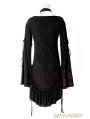 Black Gothic Lace Long Shirt for Women