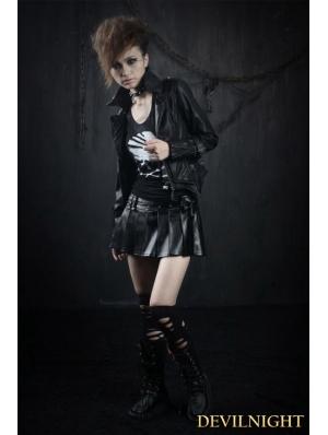 Black PU Gothic Punk Short Skirt