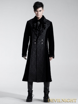 Black Velvet Gothic Long Coat for Men