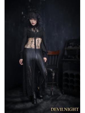Black Lace Gothic Long Blouse for Women