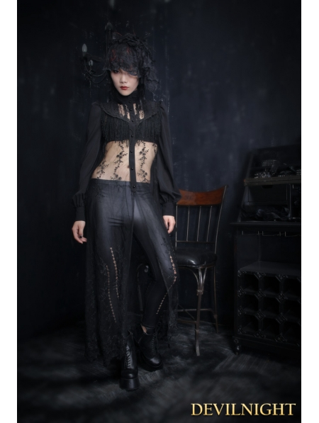 7221cf26d9e34 Black Lace Gothic Long Blouse for Women - Devilnight.co.uk
