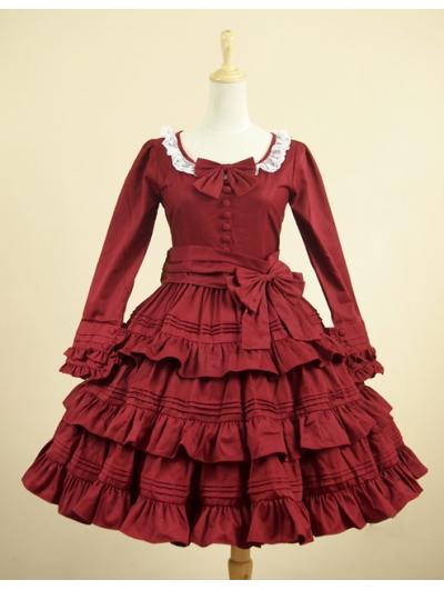 Red Long Sleeves Classic Lolita Dress