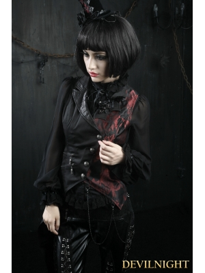 Black and Red Asymmetrical Gothic Punk Vest for Women