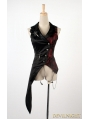 Black and Red Asymmetrical Gothic Punk Vest for Men