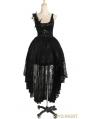 Black Lace Gothic Queen Style High-Low Dress