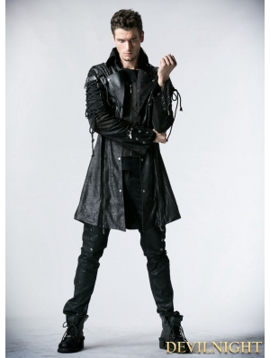 Black Long Sleeves Leather Gothic Trench Coat for Men