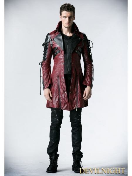 Red And Black Long Sleeves Leather Gothic Trench Coat For