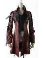 Red and Black Long Sleeves Leather Gothic Trench Coat for Men