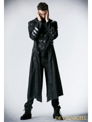 Black Long to Short Gothic Military Trench Coat for Men