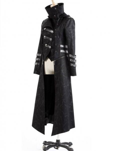 0b1a515f30b Black Long to Short Gothic Military Trench Coat for Men - Devilnight ...