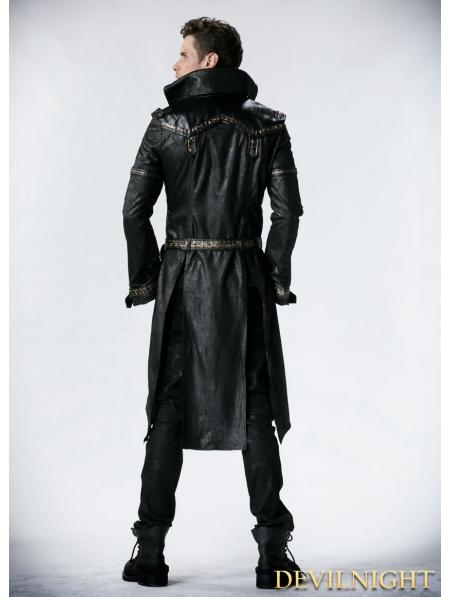 Black Leather Gothic Punk Trench Coat For Men Devilnight
