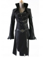 Black Leather Gothic Punk Trench Coat for Men