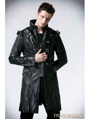 Black Leather Military Long Trench Coat for Men