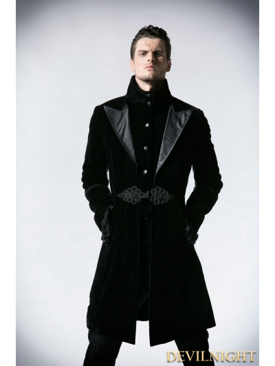 latest design excellent quality where to buy Black Velvet Gothic Chinese Style Trench Coat for Men ...