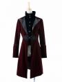 Red Velvet Gothic Chinese Style Trench Coat for Men