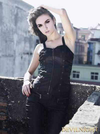 Black Sexy Gothic Punk Top for Women