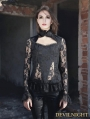 Black Sexy High Collar Lace Blouse for Women