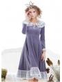 Lavender Velvet Short Sweet Vintage Chemise Dress
