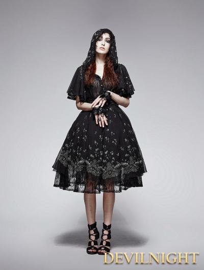 Black Gothic Printing Camellia Girl Dress