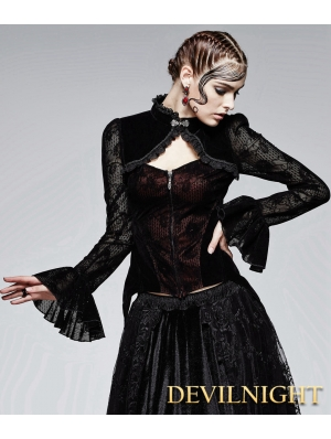 Black and Red Gothic Flocking Lace Top for Women