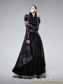 Gothic Black and Golden Printing Coat with Long Tail for Women
