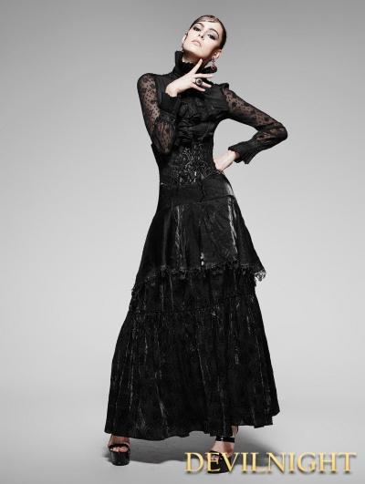 Black Gothic High Waist Long Skirt