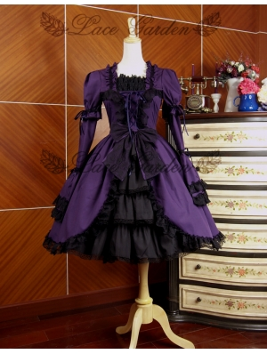 Purple and Black Long Sleeves Gothic Lolita Dress