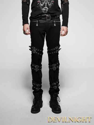 Black Gothic Punk Diagonals Pants for Men