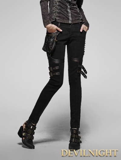 Unique Home Gt Gothic Gt Black Button Zipper Gothic Pants For Women