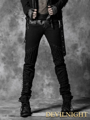 Black Rope Back Denim Gothic Pants for Men