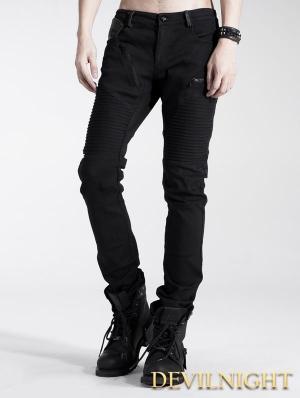 Black Gothic Punk Pants for Men
