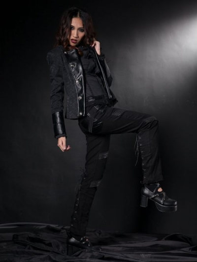 Black Printed Gothic Short Jacket for Women