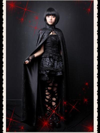 Black Gothic Lace Long Cape for Women