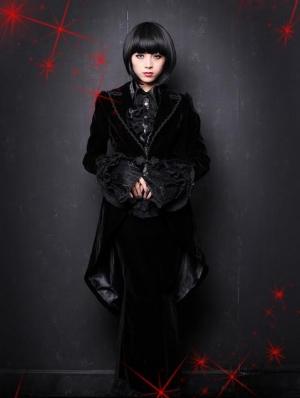 Black Velvet Gothic Swallow-Tailed Coat for Women