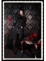 Black Printed Double Breasted Gothic Long Jacket for Women