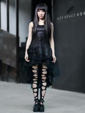 Black Spaghetti Strap Gothic Layers High-Low Dress